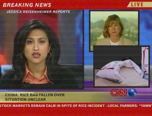 Rice bag fallen over in China